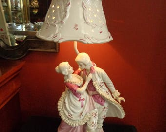 Rococo Porcelain Figural Lamp with Shabby Chic Porcelain Lamp Shade, Shabby Boudoir Lamp with Porcelain Lace Lady and Gentleman Figurines