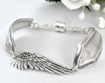 Vintage Spoon Bracelet Silver Angel Wing Bracelet, Memorial Gift  Inspirational Gift for Women  Christian Jewelry For Women, Mothers Day
