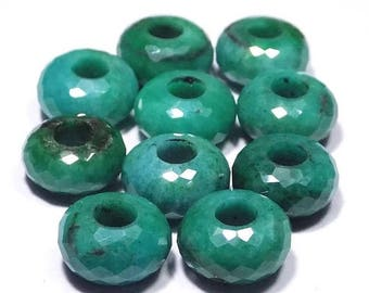 70% OFF Natural Emerald (Beryl) Handmade Faceted Rondelle European Big Hole Beads 8x14mm 5mm Hole 10 Piece Free Shipping