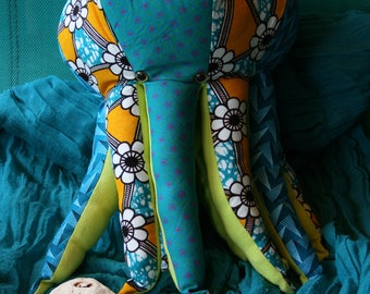plush squid out of african fabrics- made to order