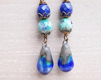 Ceramic Earrings, Fire Agate Earrings, Czech Glass Earrings, Cobalt Blue Earrings, Turquoise Earrings, Boho Earrings, Dangle Earrings.
