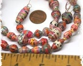 Multicolor paper beads small, Multicolor rolled paper beads, Craft supplies, jewelry supplies, DIY, Destash, Boho components, Hippie beads