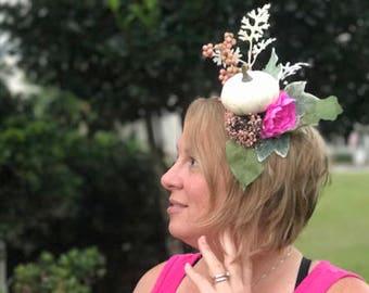 Pumpkin Flower Crown // Fall Fairy Flower Headband with White Pumpkin Centerpiece // Autumn Floral Headband // Unique Cosplay Fashion