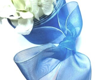 5 Metters L = 4 cm Blue organza Ribbon - wedding / baptism /communion / holidays