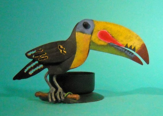 Painted metal Keel-billed toucan Candle Holder from Costa Rica