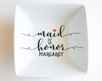 Maid of Honor Jewelry Dish | Maid of Honor gift | Bridal Party Gift idea | Wedding | Jewelry holder | Ring Dish |