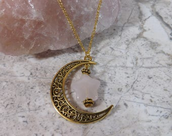 Celestial Love - Rose Quartz Star Gold Crescent Moon Necklace