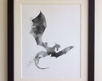 FRAMED DRAGON Print - Water Colour Style, Black/White Frame, Birthday, Kids Bedroom, Christmas, Fab Picture Gift