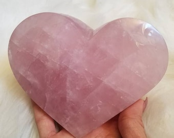 Large Rose Quartz Heart self standing Valentine's day