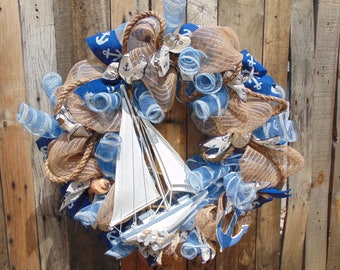 Deco mesh nautical wreath