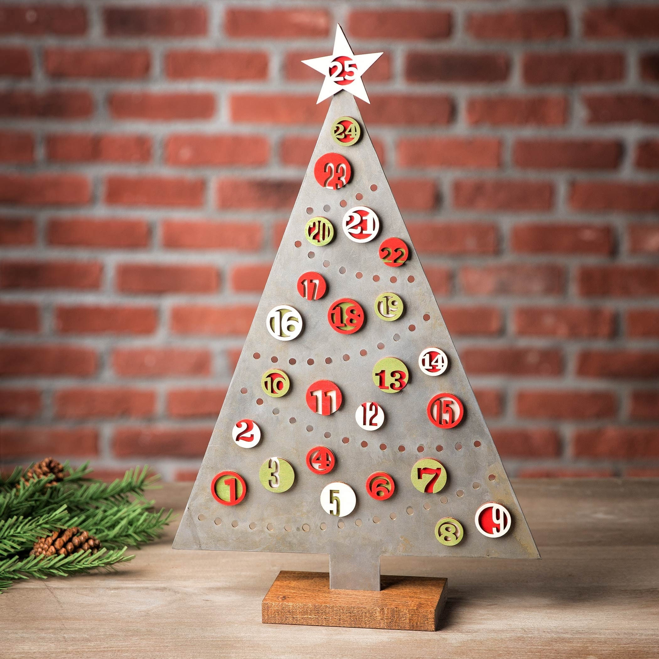 Metal Tabletop Christmas Tree: Magnetic Advent Calendar, Metal Christmas Tree, Christmas