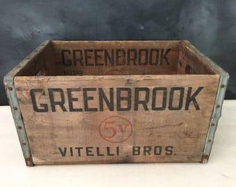 Greenbrook Wood Crate - Vintage Vitelli Bros Wooden Crate - Bottle Crate - Bar Decor -  Wooden Crate - Wood Box - Liquour Crate