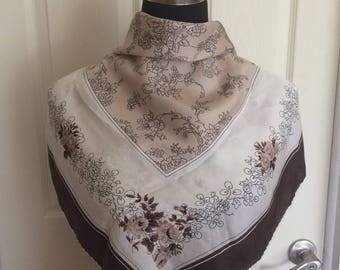 Wonderful Vintage Patricia Dumont of Paris Twill Brown Floral Scarf, Signed,Square Scarf - FREE SHIPPING EVERYWHERE