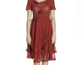 Handmade transparent coral linen dress, S/M size. Perfect for Summer.