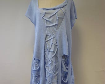 Summer angel blue linen blouse, XXL size.