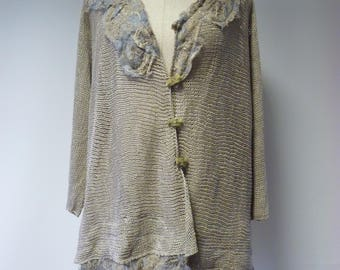 Sale. Artsy boho taupe linen cardigan, XL size. Made of pure linen.
