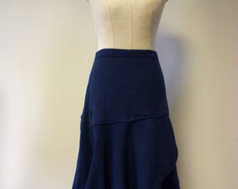 Special price, asymmetrical deep blue cotton skirt, M size.