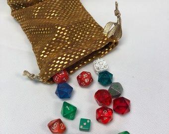 Gold Spandex L Dice Bag