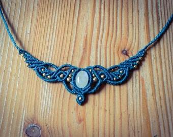Moonstone necklace of mermaid macrame tribal Gypsy of medieval Meerjunfrau Elves jewelry