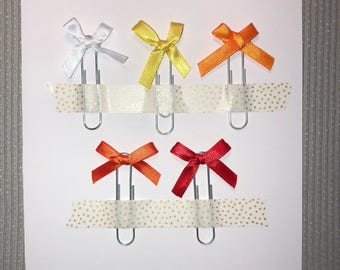 5x Sunset Satin Bow Paperclips