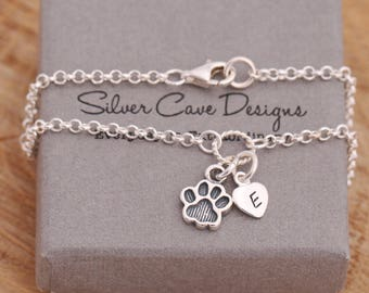 Sterling Silver Paw Print Bracelet, Paw Bracelet, Dog Paw Bracelet, Puppy Paw Bracelet, Initial Bracelet, Personalised, Gift for Her