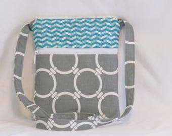 Mini Hipster Cross body Bag-Premier Prints Linked Cool Gray -Teal and White Chevron -  - Cross body Purse- Ladies Purse-