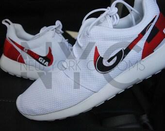 Georgia Bulldogs Nike Roshe One White Custom Men Women & Kids