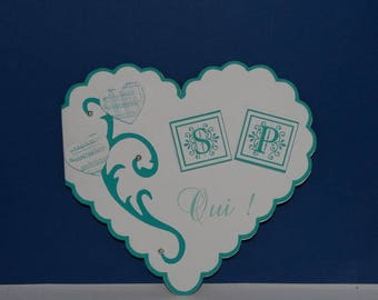 Green blue heart wedding invitation