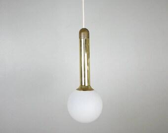 VINTAGE GOLDEN Globe Pendant // Hollywood Regency Mid century Opaline Ceiling Pendant