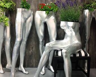 Upcycled sitting female mannequin indoor & outdoor use planter silver leaf
