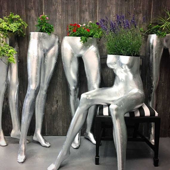 Sitting female mannequin indoor & outdoor use planter silver leaf