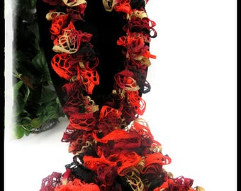 Black, burgundy, red and tan ruffled scarf, ruffled scarves, black and red scarves, handmade crochet scarves, long scarves