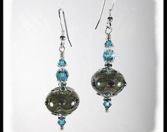 Olive green and blue lampwork earrings, rustic green earrings, green and blue jewelry, artisan lampwork beads, handmade beaded earrings