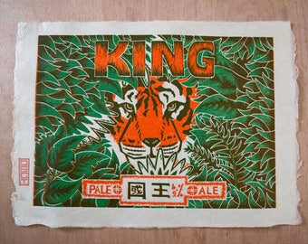 King Pale Ale Lino Print