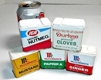 Old Spice Tins,Old Metal Spice Tins,Metal Spice Tins,Durkee Spice Tin,McCormick Spice Tin,IGA Spice Tins,Spice Tin,Kitchen Decor Tin,Old Tin
