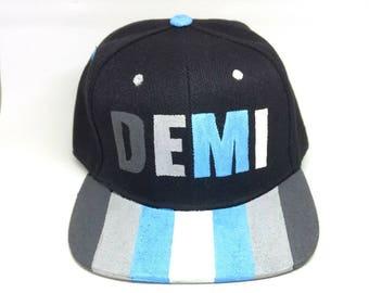 Demiboy Transgender LGBTQ+ Hand Painted Snapback Hat Demiguy Transmasculine Fashion Accessories Nonbinary Pride Demiboy Pride Trans Hat