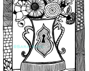 Indignant Flowers Zentangle Print