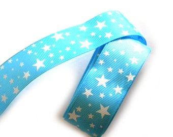 """5 Yards White Stars on Blue Grosgrain Ribbon 1"""" Wide"""