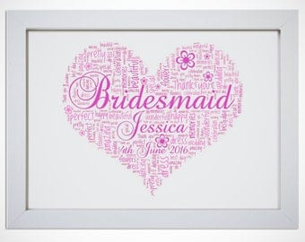 Personalised Bridesmaid Flower Girl Framed Word Art Love Heart Wedding Thank You Gift Picture Print