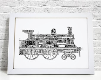 Personalised Steam Train Framed Word Art Cloud Picture Print Birthday Gift