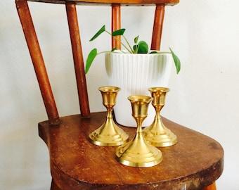 SALE- Set of 3 small brass candlestick holders| brass candlestick holders| golden brass candlestick holders| koperen kaarsenstandaards| vint