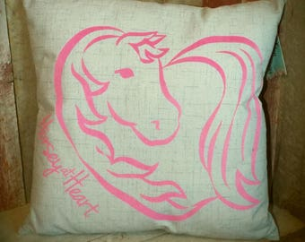 Horsey at Heart Handmade Pillow, 16x16