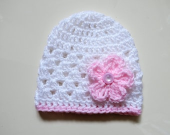 Handmade Crochet newborn hat in white sparkle with a Pale Pink Flower and Trim finished with a pink button, Perfect Photo Prop, Baby Gift