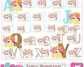 Rainbow unicorn Letters applique,Alphabet,Birthday Monogram applique,Rainbow unicorn,Girl applique,Girl Birthday,Fonts,Alphabet design.