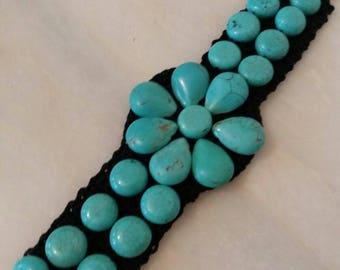 crocheted bracelet stone bracelet crochet jewelry handmade jewelry textile jewelry thick bracelet accessory bracelet women gift for her knit