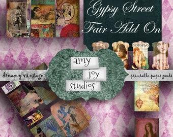 Gypsy Street Fair Add On Printable Pack  Printable Envelopes  Journal Cards  Junk Journal Kit  Spools Yarn Thread Holders  Journal Tags