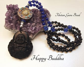 Happy Buddha Pendant. 108 Mala Necklace. Long Necklace. Gemstone Necklace. Tibetan Necklace. Obsidian Necklace. Good Luck Necklace. #MN20