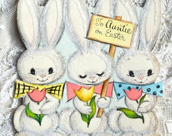 Vintage Easter Card - Three Fuzzy Flocked Bunnies - Used to Aunt