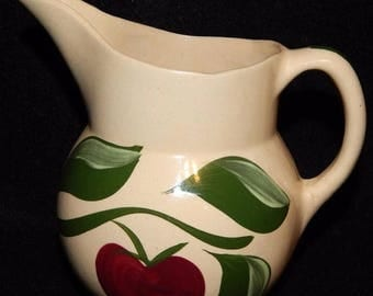 ON SALE Vintage Watt Pottery APPLE Pitcher #15 Single Apple on Branch, with 3 Green Leaves 16 oz Circa 1952-65 Excellent Condition 80 dollar