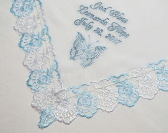 Baptism Gift for Godchild Personalized Baptism handkerchief christening hanky Baptism hankie christening Goddaughter Gift for Godmother